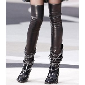 Chanel Leather Chain High Stockings