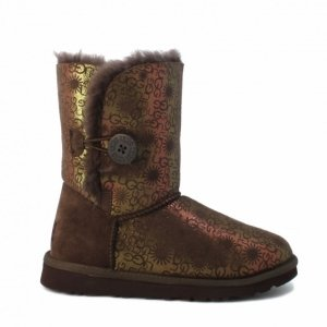 UGG Bailey Button Fancy-Chocolate