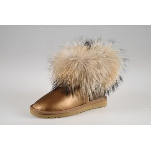 UGG Mini With Fox Fur Metallic - Bronze