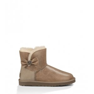 UGG Mini Bailey Bow Crystal - Metal Grey