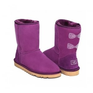 UGG Classic Short Crystal Bow - Purple