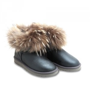 UGG Mini With Fox Fur Metallic - Grey
